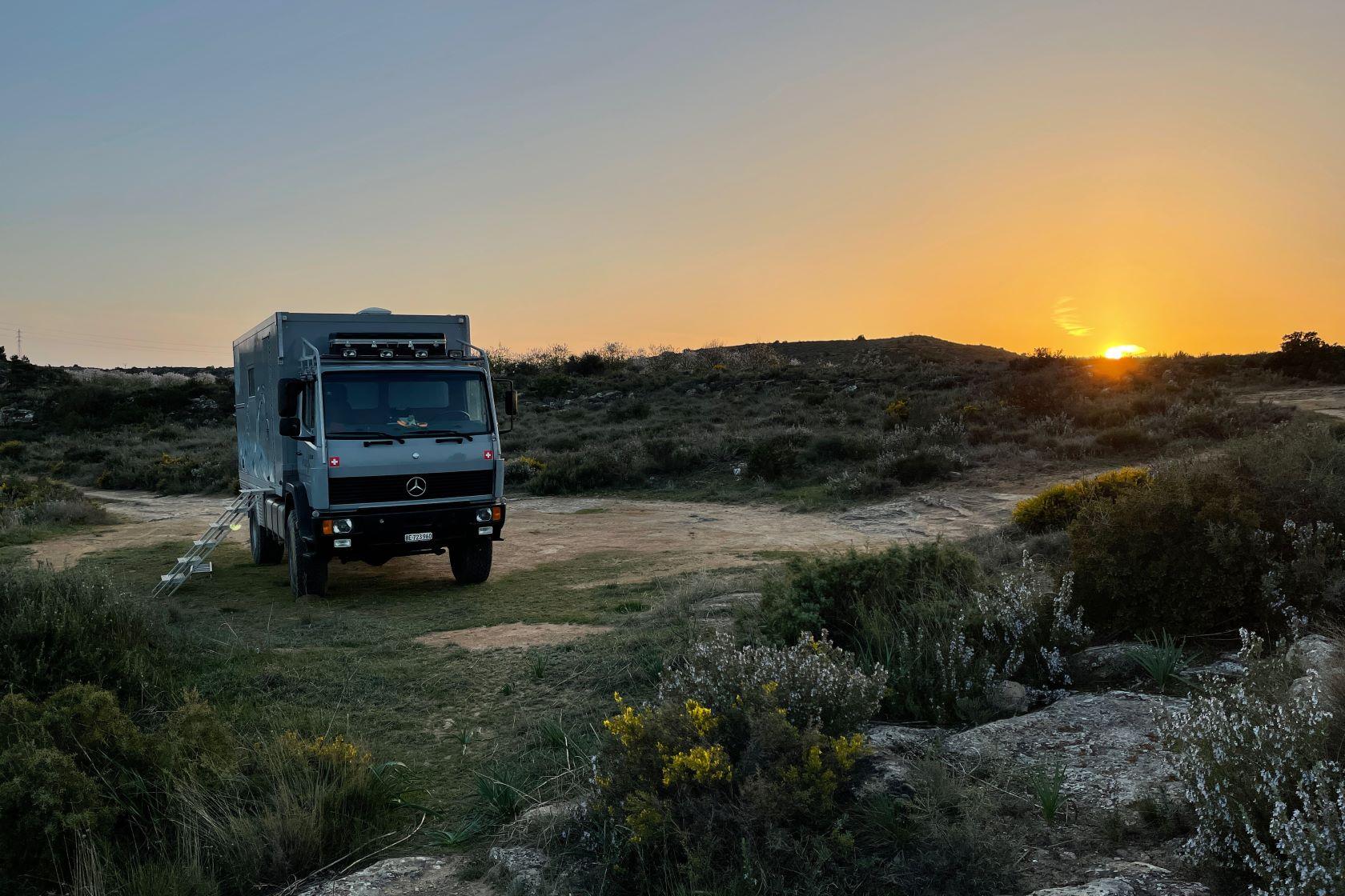 Sunset Rio Ebro Camping Wildcamping