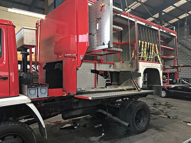 Conversion fire truck to expedition vehicle